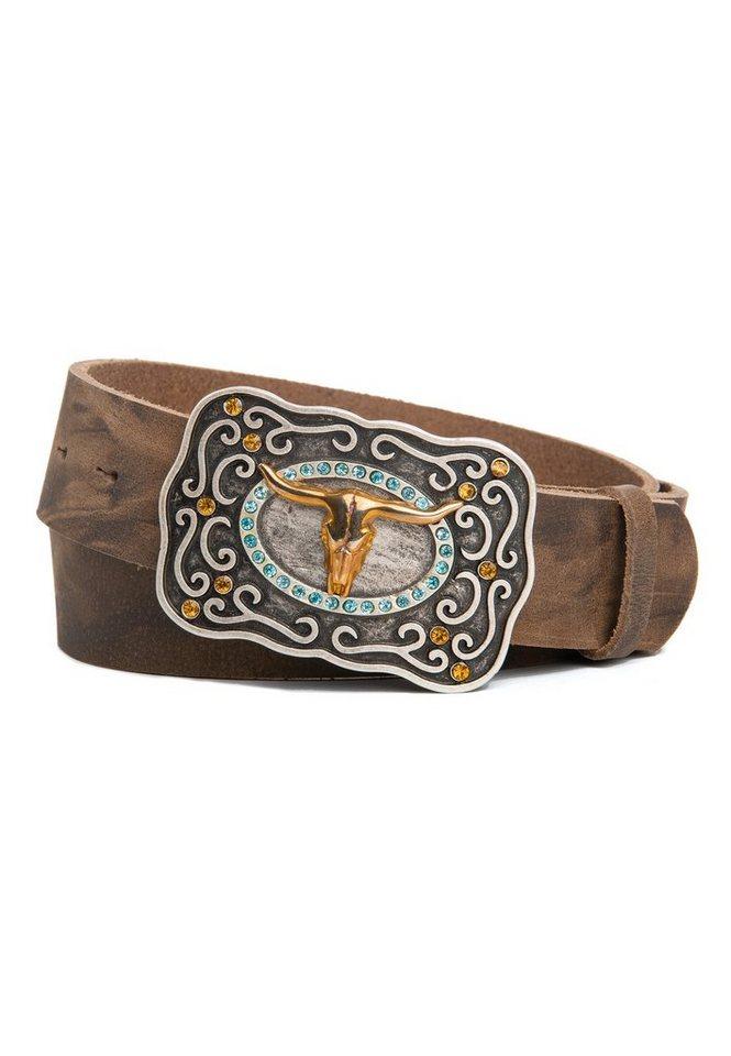 cassandra -  Ledergürtel »Goldrausch« mit Koppelschieße mit Straßdetails