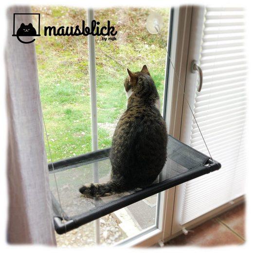 riijk Katzen-Hängematte »Mausblick«, Katzenhängematte für Katzen bis 23 kg, extra Stabiler Fensterliegeplatz, Fensterliege Katzenliege für schmale Fenster