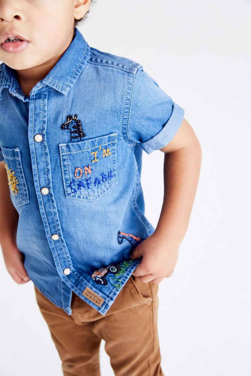 Next Kurzarmhemd »Kurzärmeliges Safari-Hemd mit Stickerei« (1-tlg)