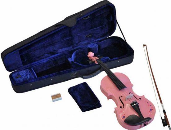Steinbach Violine »Steinbach 1/32 Geige im SET pink mit Blumendekor handgearbeitet« 1/32