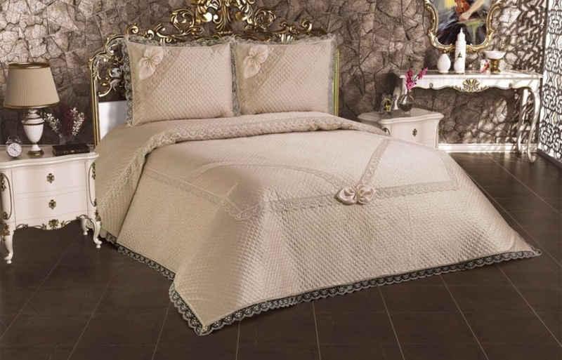 Tagesdecke »3-Teilige Bettdeckenbezug Tagedecke mit schönem Design Bettdecke Doppelbett Kopfkissen Polyester Decke 250 x 260 cm«, ZELLERFELD
