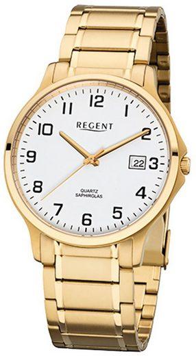 Regent Quarzuhr »URF1043 Regent Herren-Armbanduhr gold Analog«, (Analoguhr), Herren Armbanduhr rund, Edelstahlarmband gold