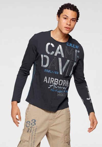 CAMP DAVID Langarmshirt mit großem Logoschriftzug
