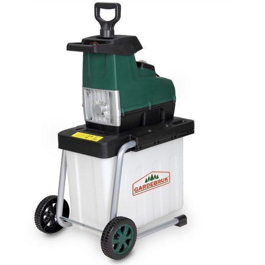 Gardebruk Häcksler, elektrischer Leisehäcksler 2800 W max. 45 mm Astdicke 60L Auffangbox Gartenhäcksler Walzenhäcksler Schredder