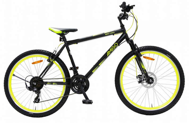 LeNoSa Mountainbike »Amigo 26 Zoll • Unisex Fahrrad • 21G Felgenbremse Schwarz/Gelb«, 21 Gang