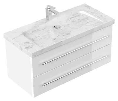 Emotion Waschtisch »Badmöbel Marmor Carrara White Damo 100 cm 1 Hahnloch weiß hochglanz«
