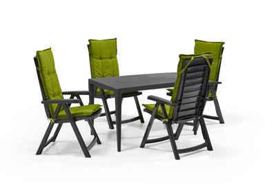 Keter Gartenmöbelset »Diningset Garda«, (Dining Set, 5-tlg., inkl. Polsterauflagen), 4x Stuhl, 1x Tisch