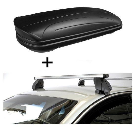 VDP Fahrradträger, Dachbox VDPMAA320 320 Liter abschließbar schwarz matt + Dachträger K1 PRO Aluminium kompatibel mit Volkswagen Touran II (5T) (5Türer) ab 15