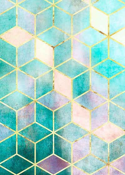 Komar Poster »Mosaik Verde«, Abstrakt, Höhe: 70cm