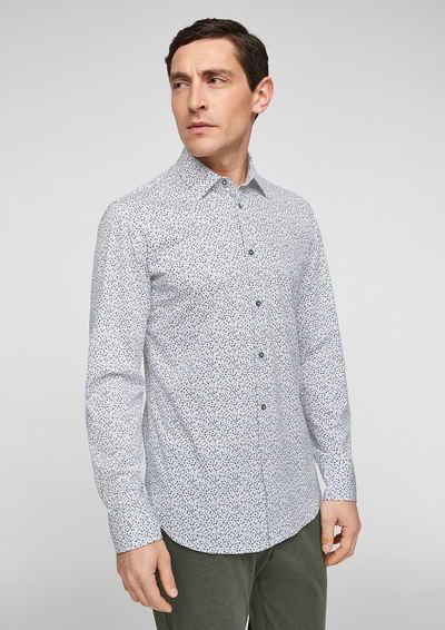 s.Oliver BLACK LABEL Langarmhemd »Slim Fit: Hemd mit Allover-Print«