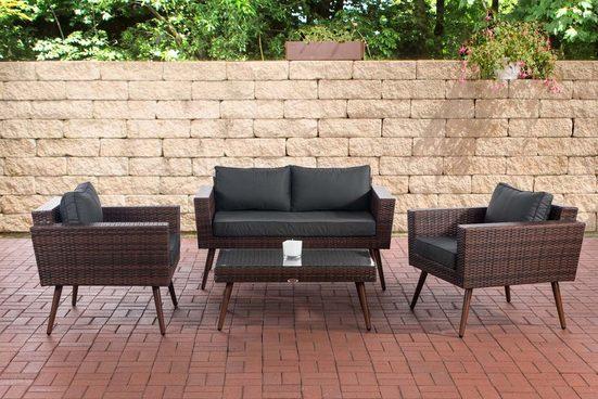 CLP Gartenmöbelset »Loungeset Kiruna Flachrattan braun-meliert«, Sofa & 2x Sessel & Glastisch 1,25mm Rattandicke