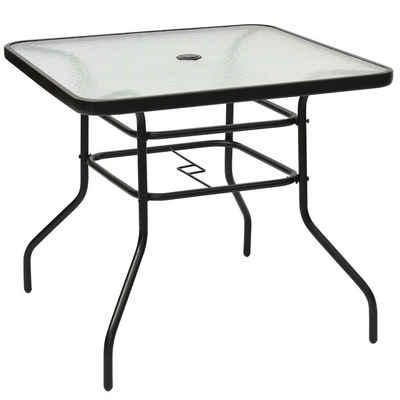 COSTWAY Bistrotisch »Gartentisch, Glastisch, Beistelltisch«, mit Schirmloch und Glasplatte, für den Innen- und Außenbereich, 80x80x71cm