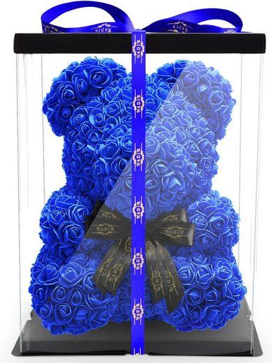Kunstblume »Rosenbär 40 cm inkl. Geschenkbox mit Schleife - Geschenk für Freundin Jahrestag Geburtstag Hochzeit«, NADIR, Größe: 40 cm, inklusive Geschenkbox