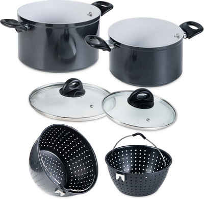 Genius Kochtopf »Magic Pot«, Aluminium, (Set, 6-tlg), robuste Keramikbeschichtung, Siebeinsatz, Induktion