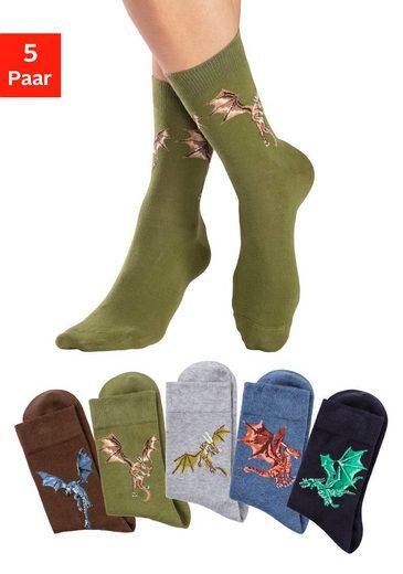 H.I.S Socken (5-Paar) mit unterschiedlichen Drachen Motiven