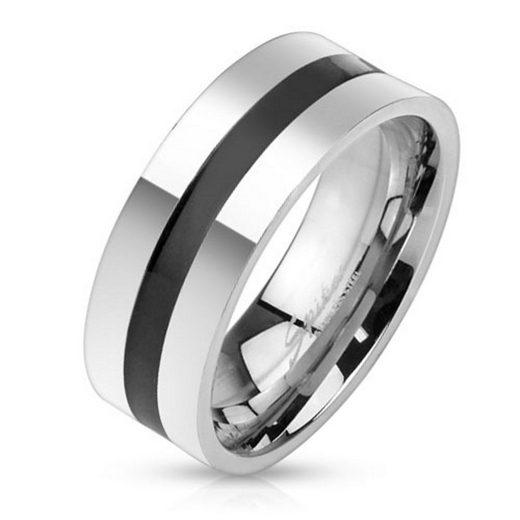 BUNGSA Fingerring »Ring schwarzer Mittelring Silber aus Edelstahl« (inkl. Schmuckbeutel aus Organza), Damen Herren Verlobung Ehering Valentinstag