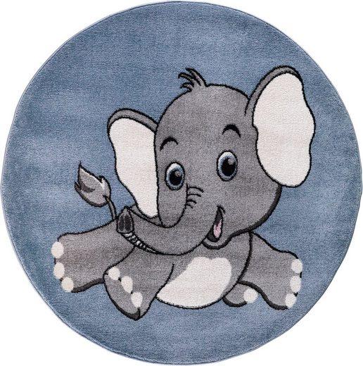 Kinderteppich »Candy 155«, Festival, rund, Höhe 11 mm, Motiv Elefant