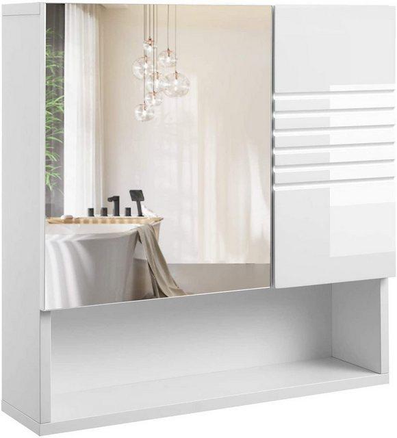 Spiegel - VASAGLE Badezimmerspiegelschrank »BBK21WT« Spiegelschrank fürs Bad, Wandschrank, Badschrank, weiß  - Onlineshop OTTO