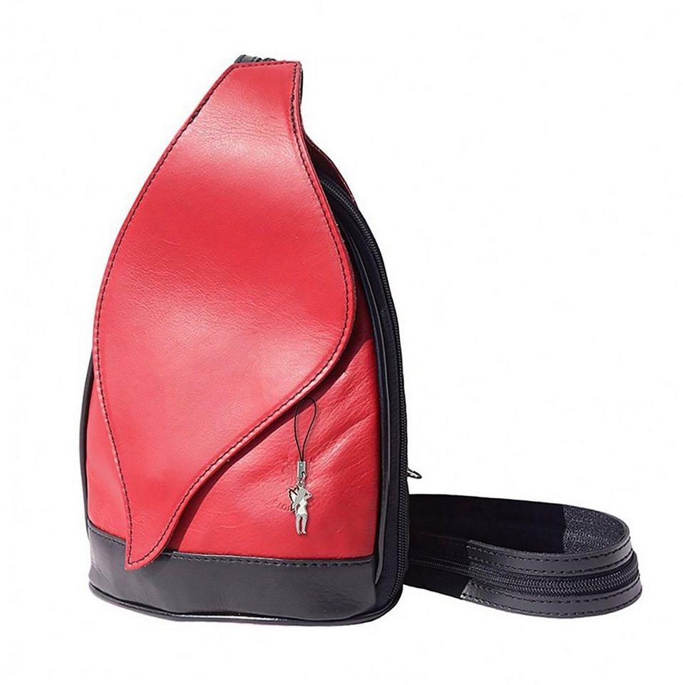 florence -  Cityrucksack »OTF602X  Damen Rucksack Schultertasche«, Damen Rucksack, Tasche, Echtleder rot-schwarz
