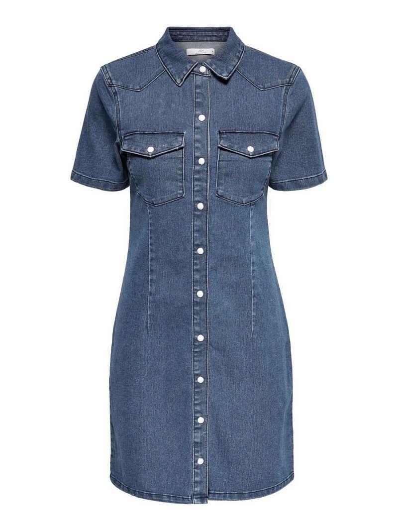 JACQUELINE de YONG Shirtkleid »3630« JDY Damen Sommer Jeans Kleid Kurzarm Midi Denim Dress JDYNEWSANNA