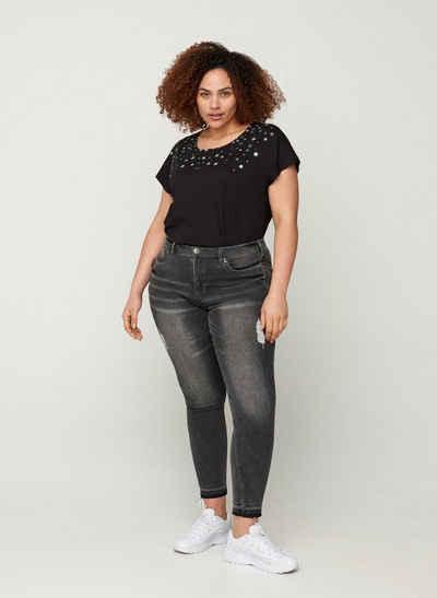 Zizzi T-Shirt Große Größen Damen T-Shirt aus Baumwolle mit Sternen und Rundhals
