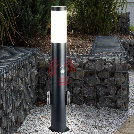 etc-shop LED Außen-Stehlampe, Edelstahl Steh Lampe Bewegungsmelder Steckdosen Außen Leuchte anthrazit im Set inkl. LED Leuchtmittel
