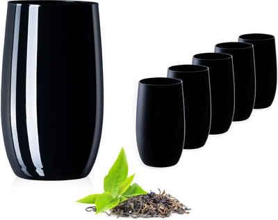 PLATINUX Glas »Schwarze Trinkgläser«, Glas, 280ml (max. 370ml) Set 6 Teilig Wassergläser Saftgläser Longdrinkgläser