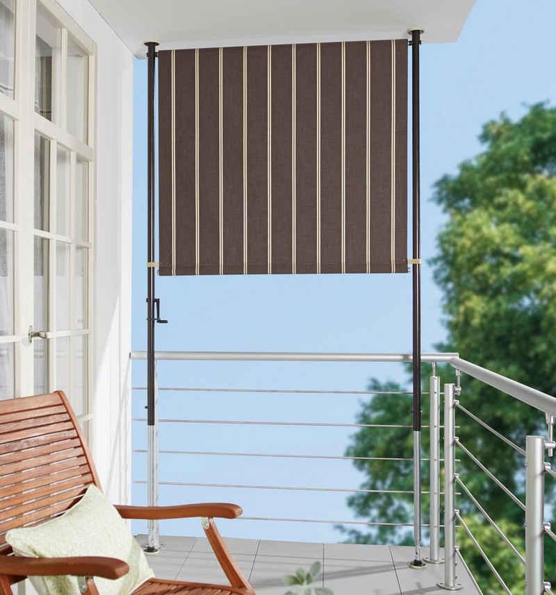 Angerer Freizeitmöbel Klemm-Senkrechtmarkise braun/weiß, BxH: 120x225 cm