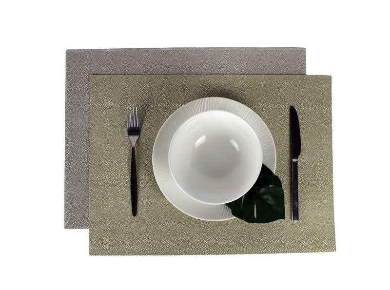 Platzset, »Tischset 6-er Set Kunstleder Rochenhaut zweifarbig«, Signature Home Collection, (Set, Tischset 6-er Set Kunstleder 45 x 33 cm), pflegeleichtes Kunstleder: abwischbare, beschichtete Oberfläche