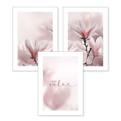 Kreative Feder Poster, Blumen (Set, 3 Stück), 3-teiliges Poster-Set, Kunstdruck, Wandbild, optional mit Rahmen, wahlw. in DIN A4 / A3, 3-WP003