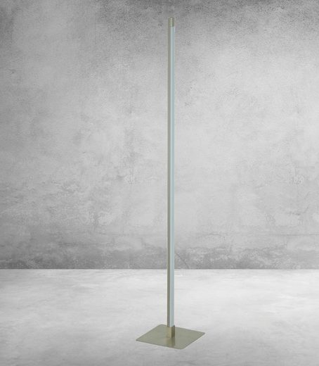 TRANGO LED Stehlampe, 1524 Stufenlos dimmbar Fluter Edelstahl-Optikt 14 Watt – 1200 Lumen – 3000K warmweiß LED Modul Serie *STRAIGHT* Höhe: ca. 120cm Standlampe I Wohnzimmer Leuchte