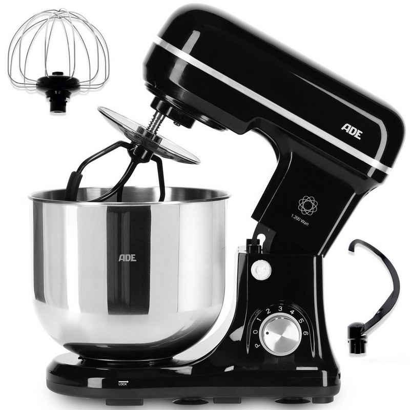 ADE Küchenmaschine KA2100-2, 1200 W, inkl. Knethaken, Flachrührer & Schneebesen