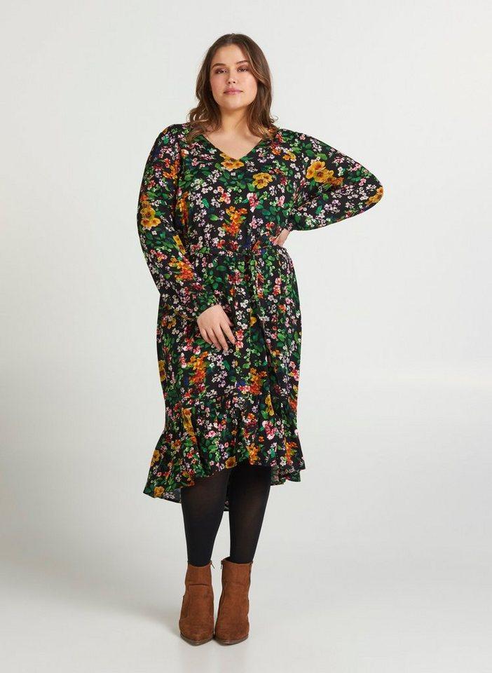 Festtagsmode - Zizzi Abendkleid Große Größen Damen Midikleid mit Blumenprint und V Ausschnitt ›  - Onlineshop OTTO