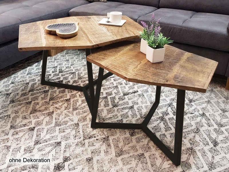 Casamia Beistelltisch »Couchtisch Set 2 Stück Wohnzimmer Tisch Satztisch Paris Metall-Gestell schwarz oder weiß«