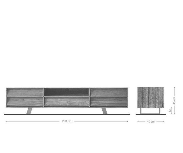 TV Möbel - DELIFE TV Board »Eloi«, Natur 200x40x45 cm Exotic Wood  - Onlineshop OTTO