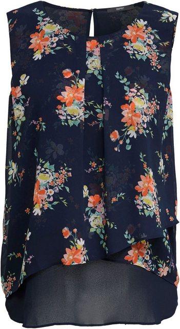 Esprit Collection Chiffonbluse im Kontrast-Lagen Look und Blumen-Print | Bekleidung > Blusen > Chiffonblusen | esprit collection