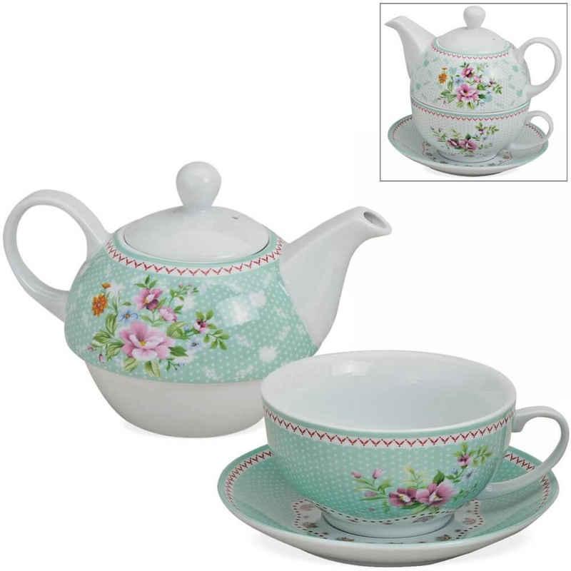matches21 HOME & HOBBY Teekanne »Tea For One Geschenk Box bunte Blumen«, 0.6 l