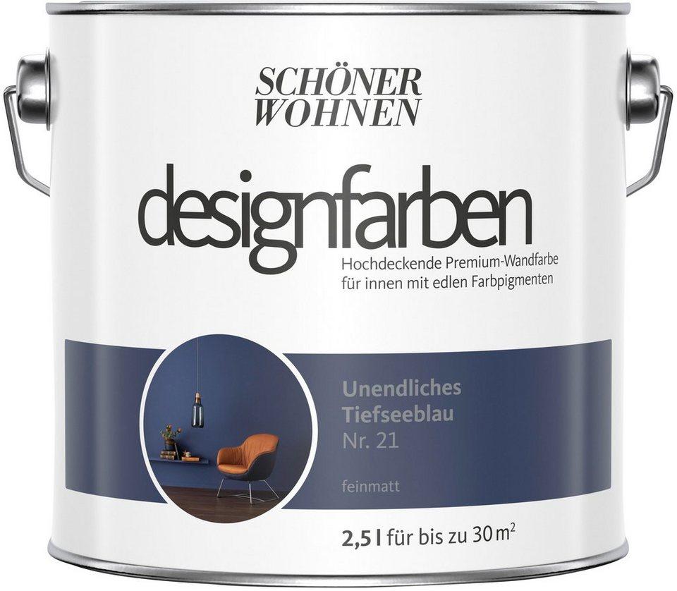 Schoner Wohnen Farbe Farbe Designfarben Unendliches Tiefseeblau Nr 21 Feinmatt 2 5 L Online Kaufen Otto