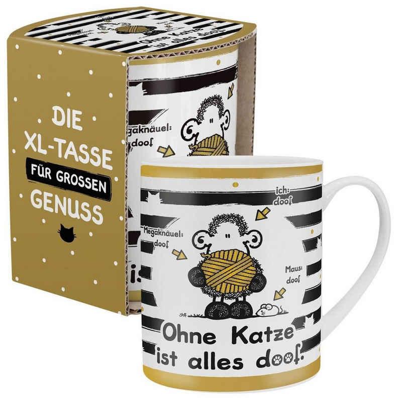 """Sheepworld Tasse »Sheepworld - XL Kaffee- Tasse """"Ohne Katze ist alles doof"""" 0,6l OKIAD (45991)«"""