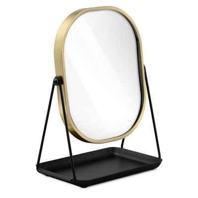 Navaris Kosmetikspiegel, Schminkspiegel Tischspiegel mit Schmuckaufbewahrung - Spiegel zum Schminken und Frisieren - Standspiegel mit Aufbewahrung