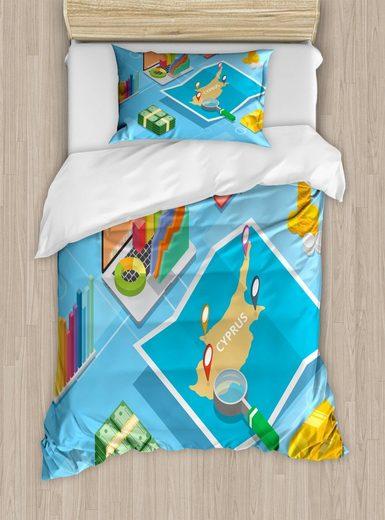 Bettwäsche »Top Qualität Weich und Warm 3 Teiligen Bettbezug mit 1 Kissenbezüge«, Abakuhaus, Zypern Isometrische zypriotische Karte Bild