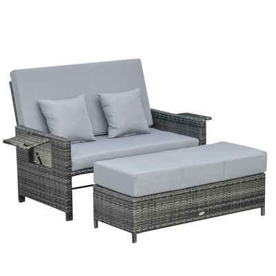 Outsunny Loungesofa »Polyrattan Lounge-Sofa mit Kissen«