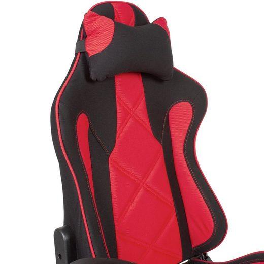 Amstyle Gaming-Stuhl »SPM1.416« Gaming-Schreibtischstuhl Bezug Stoff Schwarz/Rot Drehstuhl bis 120 kg Büro-Arbeitsstuhl mit hoher Rückenlehne & ausziehbarer Fußstütze
