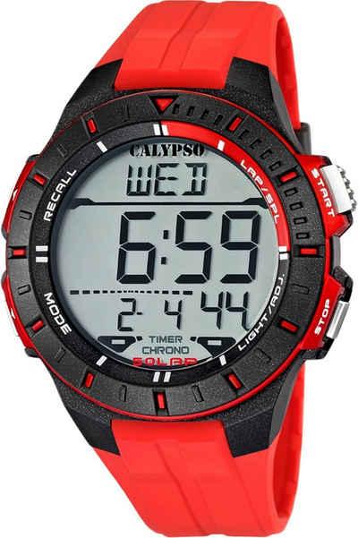 CALYPSO WATCHES Digitaluhr »UK5607/5 Calypso Herren Uhr Sport K5607/5«, (Digitaluhr), Herren Armbanduhr rund, PURarmband rot, Sport
