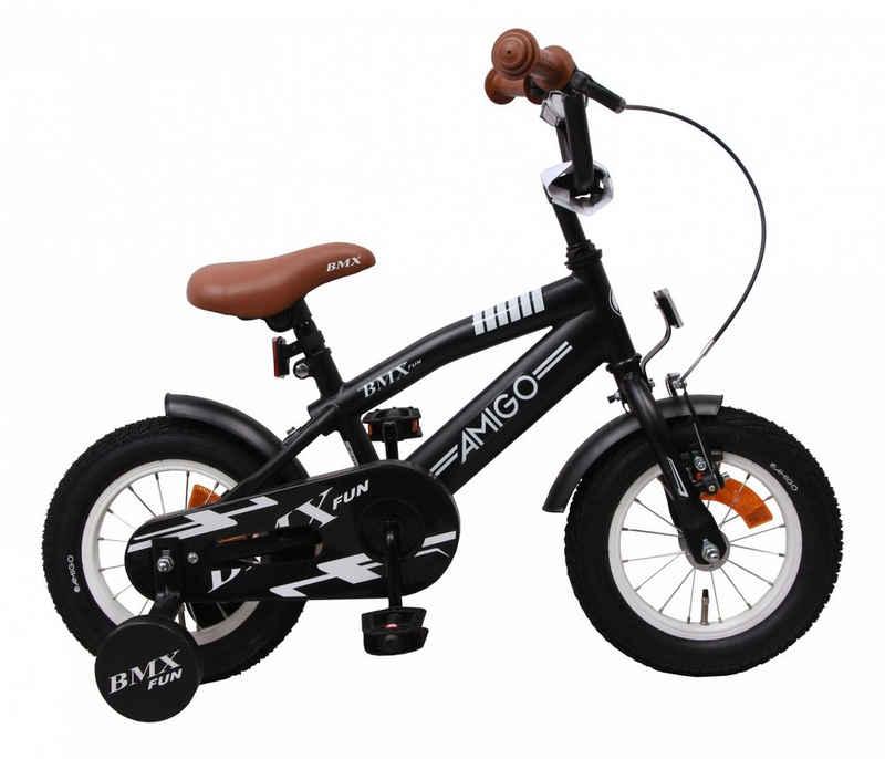 LeNoSa Kinderfahrrad »Kinderfahrrad AMIGO BMX 12 Zoll Jungen Rücktrittbremse Mattschwarz«