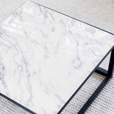 K&L Wall Art Arbeitsplatte »Glas Tischplatte Naturstein Weiß Marmor Stein Glastisch Quadratisch Marmoroptik«