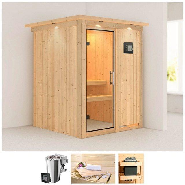 Saunen und Zubehör - KARIBU Sauna »Minja«, 165x165x202 cm, 3,6kW Plug Play BioOfen, ext Strg, Dachkranz  - Onlineshop OTTO