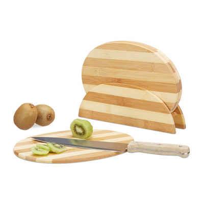 relaxdays Frühstücksbrett »Bambus Frühstücksbrettchen gestreift«, Bambus