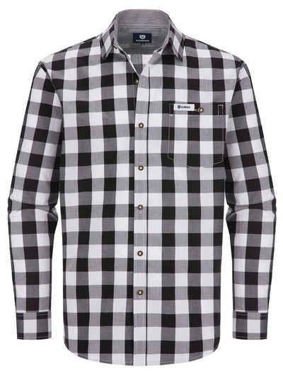 Almbock Trachtenhemd »Trachten Herrenhemd Leopold« schwarz-weiß-kariert