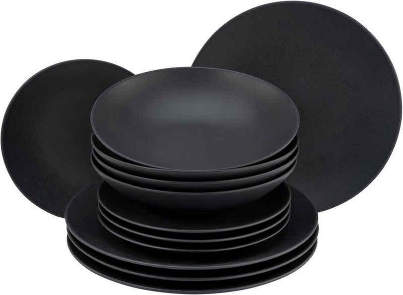 CreaTable Tafelservice »Soft Touch Black« (12-tlg), Steinzeug, seidenmatte Glasur